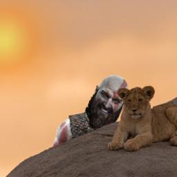freetoedit kratos selfie lion irckingofthejungle