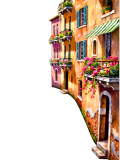 ftestickers watercolor painting town city freetoedit