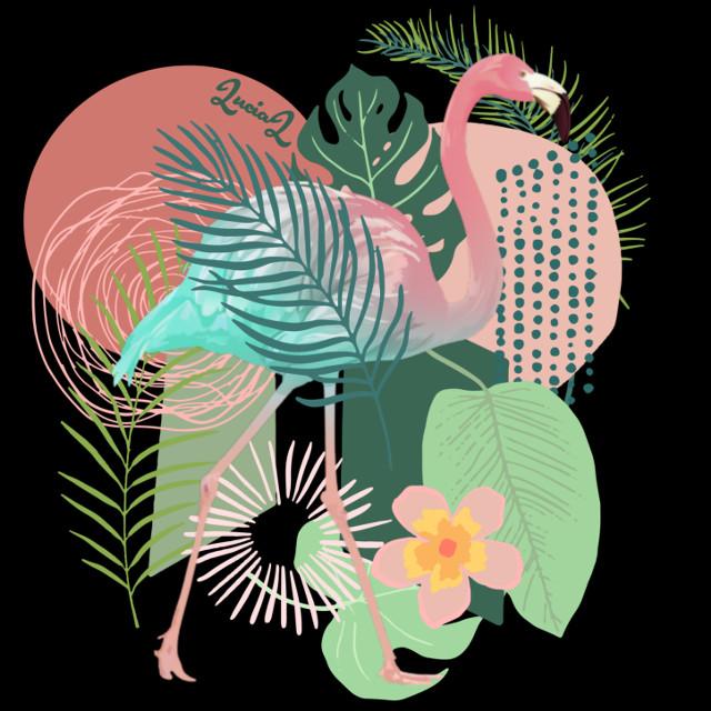 #tropical #Flamingo #tropicaldays #tropicalvibes #tropicalleaves #jungle #abstractart #shapes