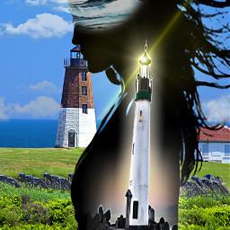 freetoedit grassyfield female lighthouses cloudsandsky myeditoffreetoedit