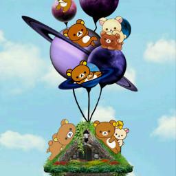 freetoedit rillakkumaandfriends rillakkuma flying ecrelaxwithrilakkuma
