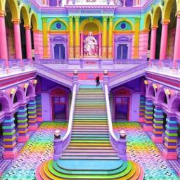 mansion steps rainbow castle freetoedit