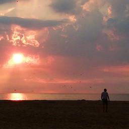 freetoedit sunset clouds beach sea