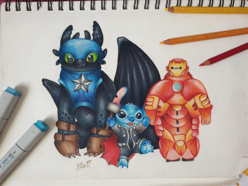 Was supposed to be for a friend but i was super overloaded with other works #marvel #dreamworks #stitch #toothless #dragon #baymax #bigherosix #bighero6 #ironman #captainamerica #thor #superhero #howtotrainyourdragon #movie #drawing #tradionalart #pencildrawing #illustration #art  #freetoedit