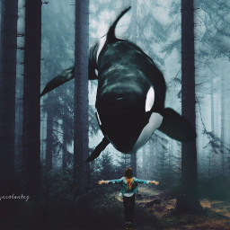 freetoedit whale surreal forest focalzoomeffect