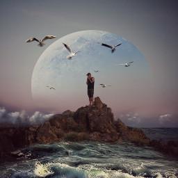 mountain sea moon twilighteffect doubleexposure freetoedit