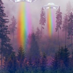 photomanipulation surreal ovni rainbow madewithpicsart