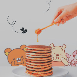 freetoedit rilakkuma pooh pancakes