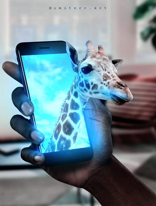 #freetoedit #giraffe #animals #myedit #intresting #surreal #hand #telephone #art