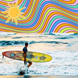 freetoedit surfing stripes mixedmedia myedit