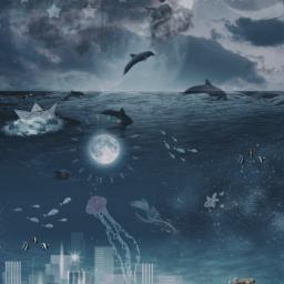 freetoedit ocean underwater city fish