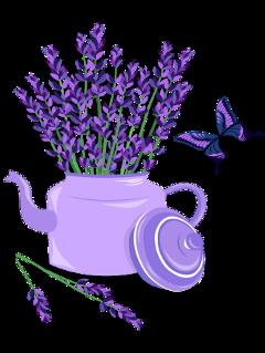 ftestickers butterfly flowers flowerpot lavender freetoedit