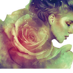 ftestickers fantasyart woman rose doubleexposure freetoedit
