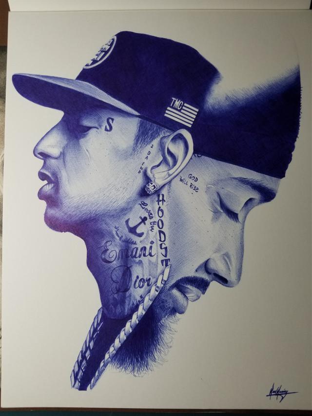 Pen drawing of Nipsey #nipseyhussle #art #pen #drawing #bluepen #artwork #artoftheday #masterpiece
