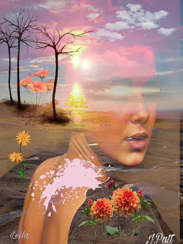 #freetoedit#female#back#sunsetsky#beachsand#flowersblooming#dirt#orangeskies#treebranches#sunshine#myeditoffreetoedit