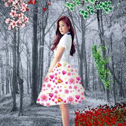 freetoedit girl blackandwhite forest background myeditoffreetoedit