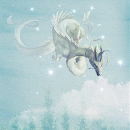 freetoedit fantasy magic dragon pastelblue