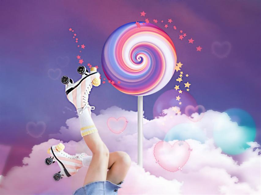 Summer fun...roller skates, lollipops and living in the clouds. #rollerskates #lollipop #clouds #pinkandblue #fun #madewithpicsart  #freetoedit   #freetoedit