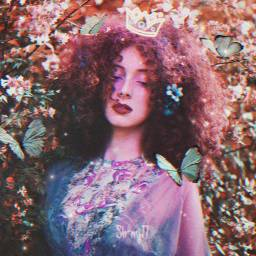 freetoedit girl butterfly bushes crown