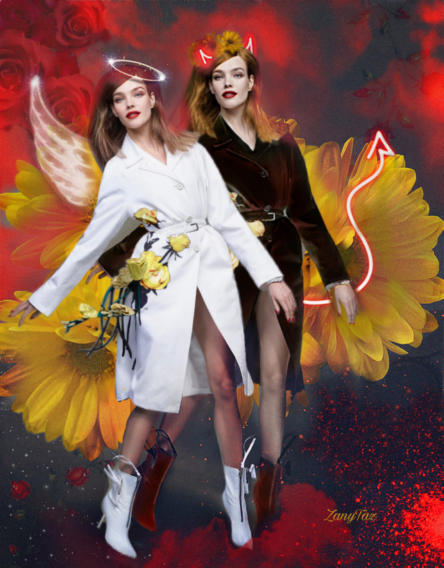 Good & Evil go hand in hand 🌿❤️ I Love this model... hahaha had to do another version. #heypicsart #angelanddevil #goodandevil #be_creative burn some cells lol 🤣🤗😄 #freetoedit