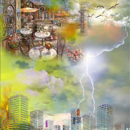 freetoedit turbulentskies lightening colourfulclouds cityscenery myeditoffreetoedit