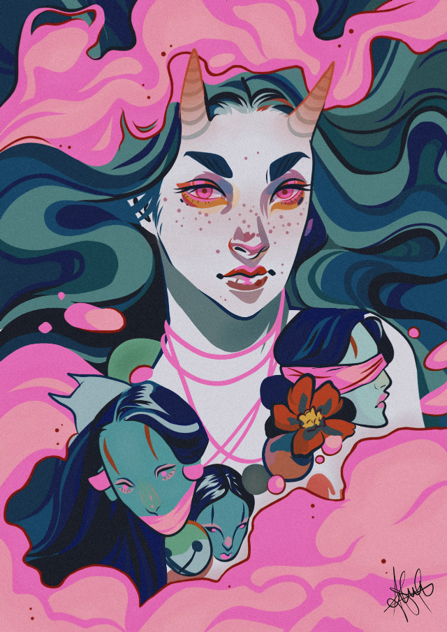 #Girl #Draw #Illustrator #Edit #photography #colors #lines #Aesthetic #Fotoedit #Cartoon #followme #Demons #Pink #Green