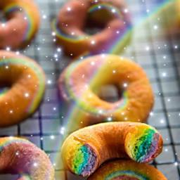 freetoedit rainbowlightcontest rainbow donuts rainbowmagiceffect