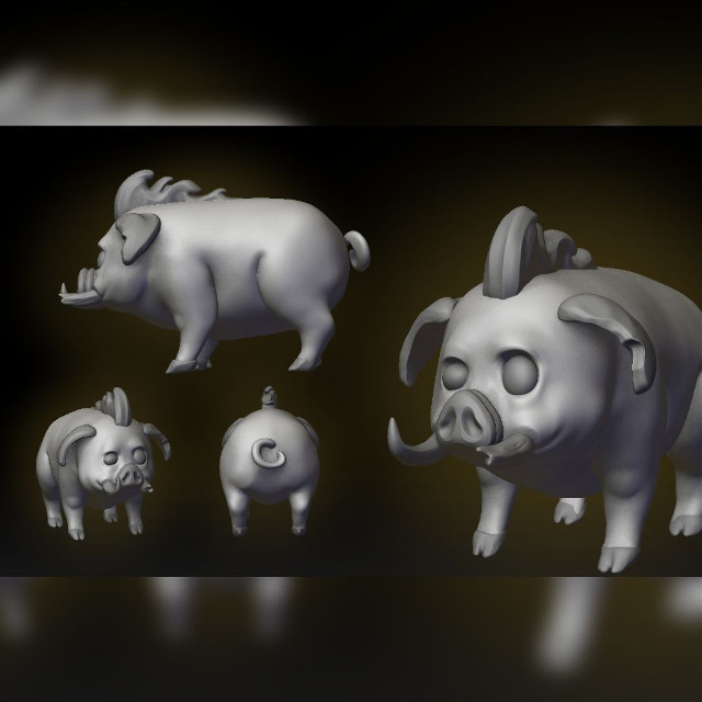 Chonker has been improved ! Made some slight changes, he will be rideable in our uocoming game🐖🐷❤🐗 #pig #creature #game #videogame #art #digitalart #digital #sculpt #petsandanimals #farmanimal  #freetoedit