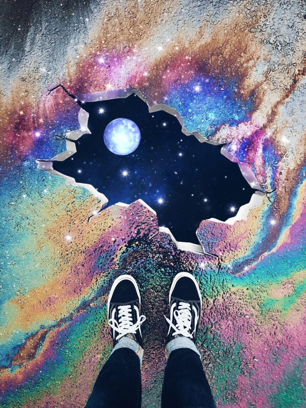 #freetoedit #universe #moon #colorful #madewithpicsart #surreal #dodgereffect #sparklelightbrush #galaxybrush