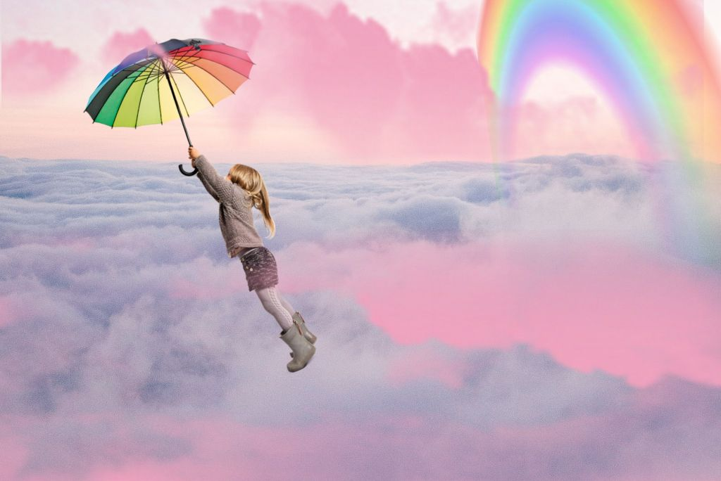 #freetoedit #rainbowumbrella #rainbow #umbrella #flying #ecintheclouds #intheclouds