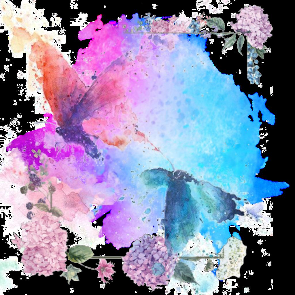 #watercolour #background #flower #butterfly #remix #vjaii