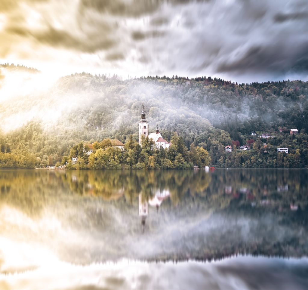 The only natural island in Slovenia #nature #forest #mountain #island #lake #bled #slovenia #reflection #fairytale #heaven