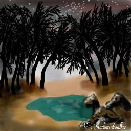 oasis nightsky starrysky moonlight desert dcoasisinthedesert