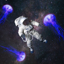 freetoedit jellyfish galaxy astronaut