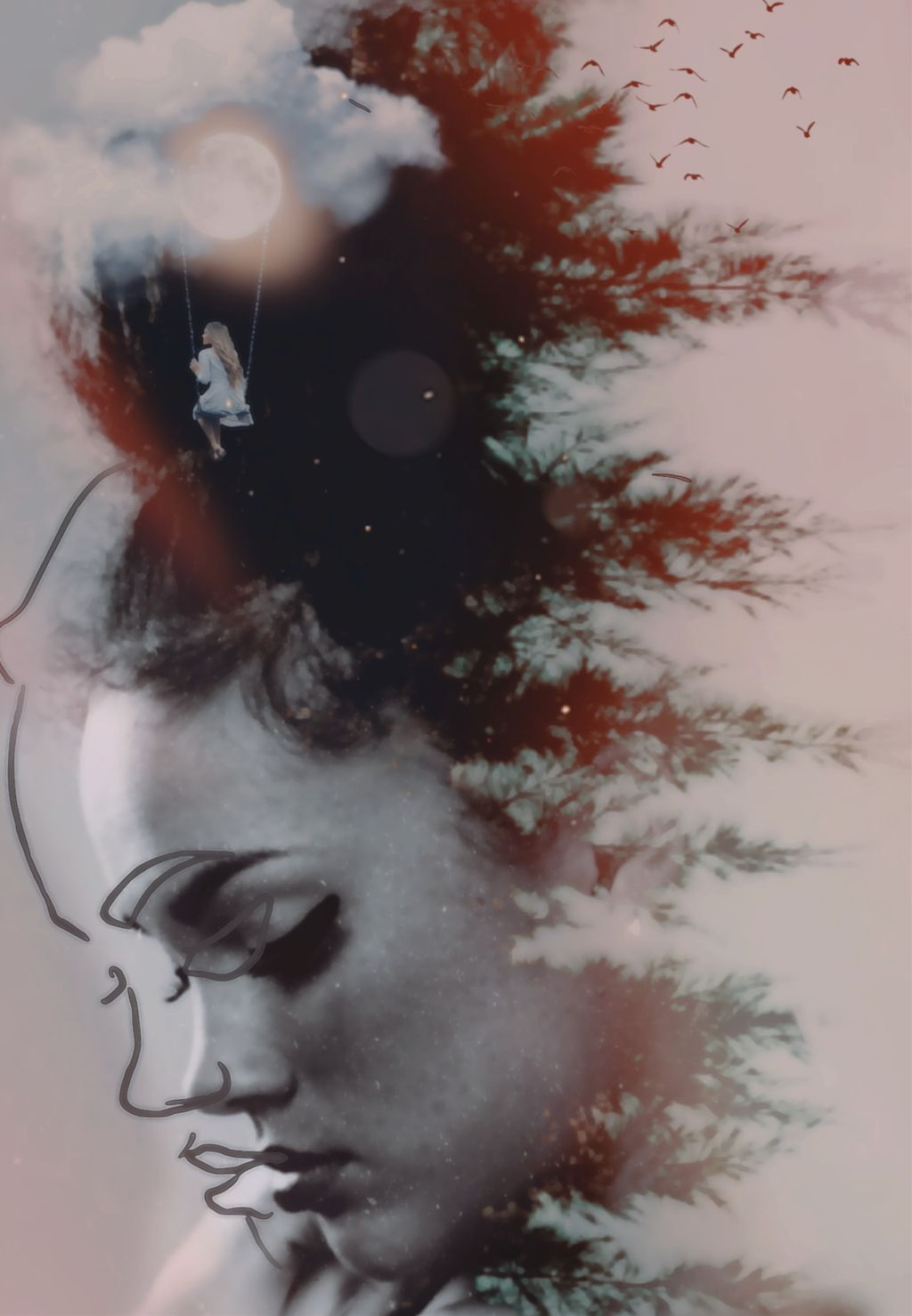 #doubleexposure #madewithpicsart #mycreations #double_exposure #myedit #manipulation #creative #art #woman #forest #stickers #lights #photooftheday #beautiful #be_creative #sketchereffect #heypicsart