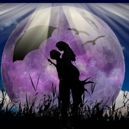 freetoedit love amour couple lune ecintheclouds