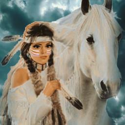 freetoedit woman indian americanindian horse srcbrushstroke