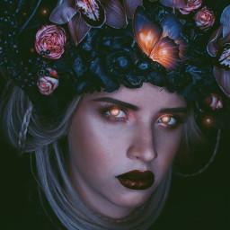 freetoedit girl portrait light woman flowers butterfly beautiful face people picsarteffects madewithpicsart remixed