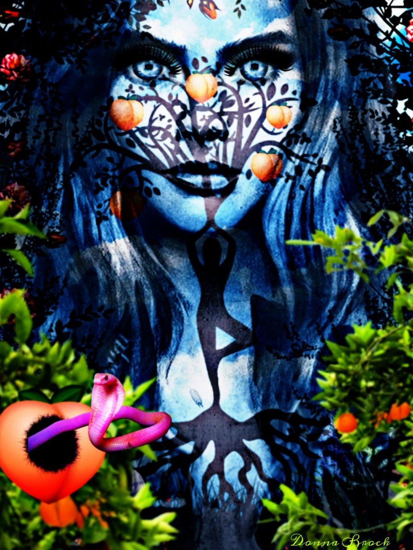 THE GARDEN OF EDEN . Peaches All Around Challenge ...  Garden Of Eden ...  @donnabrock7. @kleo1411  #peachesallaround #peaches #woman #treeoflife #freetoedit #peach #snake #eve #gardenofeden  #ircpeachesallaround