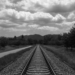 freetoedit pcblacknwhite blackandwhite railway landscape