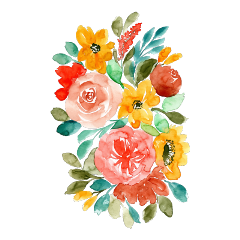 ftestickers watercolor flowers bouquet colorful freetoedit