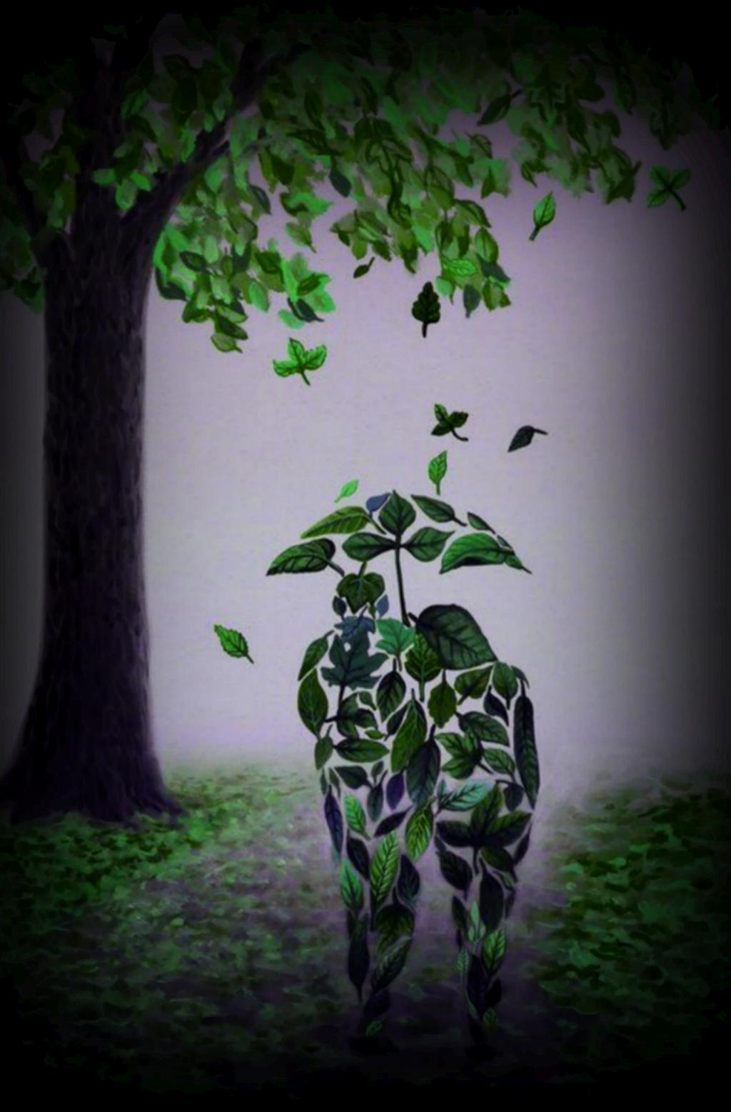 #ftestickers #couple #umbrella #leaves #doubleexposure