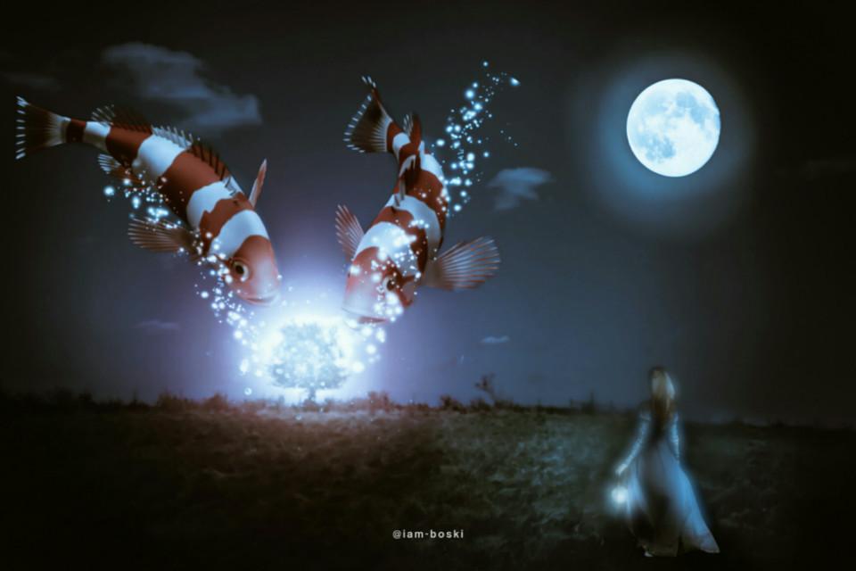 """Wait till it's dark and watch me glow""          #remixit #freetoedit #editedbyme #editedwithpicsart #fish #flying #girl #moon #stars #tree #magical #surrealism #surreal #scenery #scene #shadow"