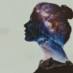 myedit girl overlay doubleexposure stars freetoedit