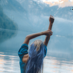 freetoedit colorfulhair bluehair blue mountain