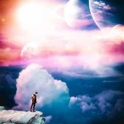 freetoedit background clouds cloud sky star stars moon smoke fog remix mountain nature galaxy planet plants boy creative visual surreal remix colorfulsky space