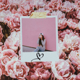 freetoedit girl poloroid heart flowers