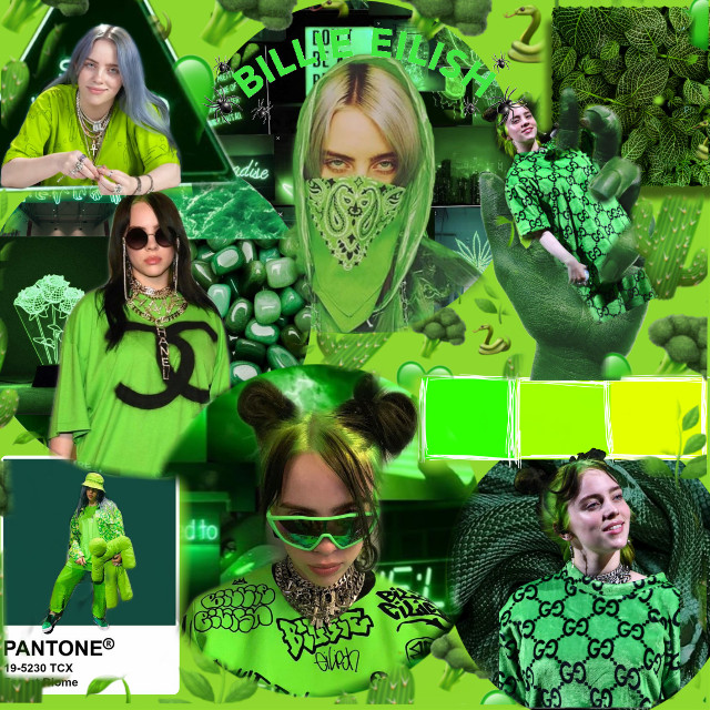 #billieeilish #collage #green #aesthetic