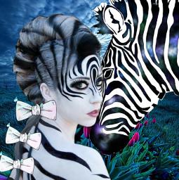 freetoedit zebras zebra woman feild srcbowtie