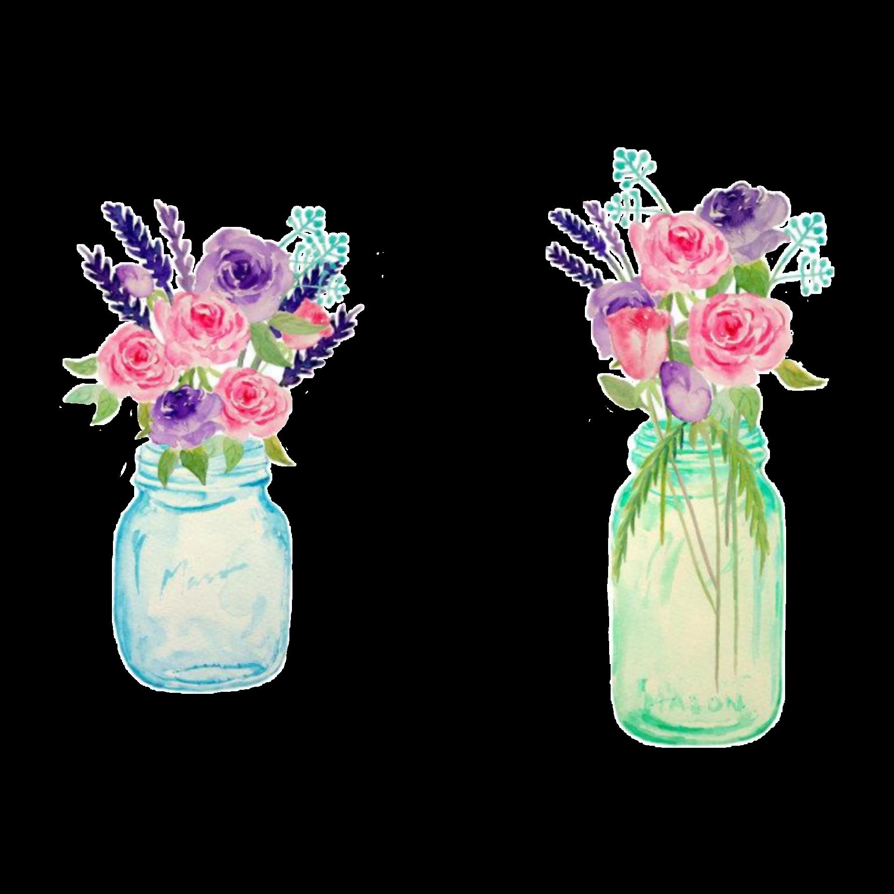 Watercolor Flowers Vases Sticker By Oliviayeargin